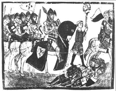 illustrazione della battaglia di colle, che si svolse vicino monteriggioni