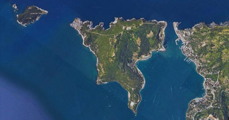 isola palmaria vista dal satellite
