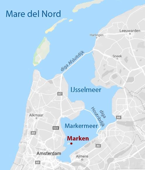 mappa che mostra l'isola di Marken