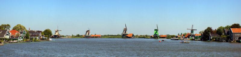 panoramica dei mulini a vento di Zaanse Schans