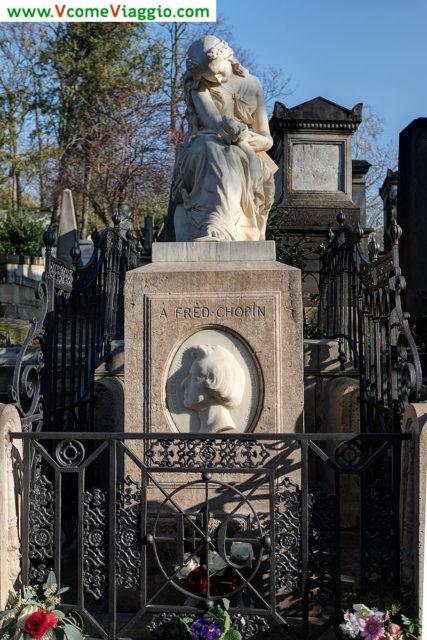 tomba di Chopin al cimitero Pere Lachaise di Parigi